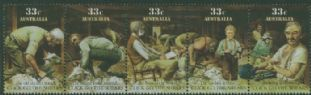 AUS SG1014a Australian Folklore 'Click go the Shears' strip of 5